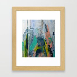 Connection [7]: a vibrant mixed-media abstract piece in blues greens and pink by Alyssa Hamilton Art Framed Art Print