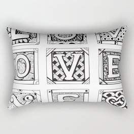 Love - Doodled cards with letters Rectangular Pillow