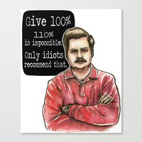 ron swanson Canvas Prints featuring Ron Swanson by Tiffany Willis