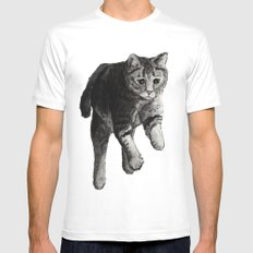 Jumping Cat White Mens Fitted Tee MEDIUM
