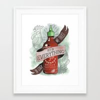 sriracha Framed Art Prints featuring An Ode To Sriracha by Drunk Girl Designs