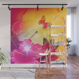 Awesome colorful flowers and butterfly Wall Mural