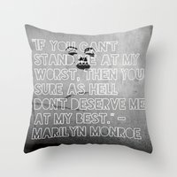 monroe Throw Pillows featuring Monroe by CATHERINE DONOHUE