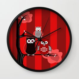 Red Owls Wall Clock