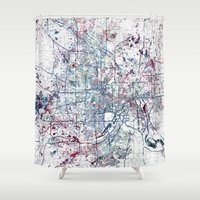 minneapolis Shower Curtains featuring Minneapolis map by MapMapMaps.Watercolors