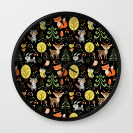 Cute Colorful Wood Animals In Forest Wall Clock