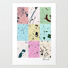 Brussels, Belgium, city map, 60's inspired Pop Art design Art Print