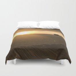 Boardwalk Beach Sunset Duvet Cover