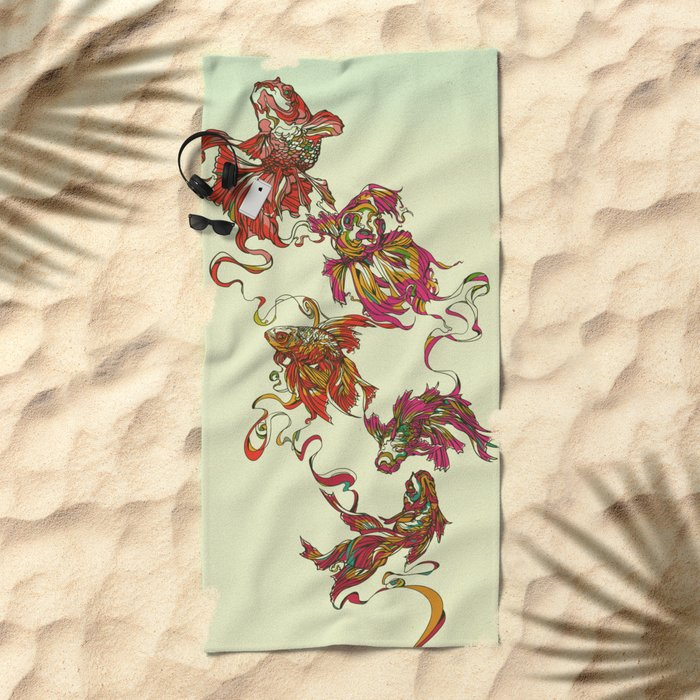 Tanged Veiltail Rainbow Beach Towel