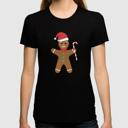 Cute Gingerbread Man In Santa Hat Candy Cane T-shirt