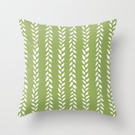 Sap Vines - nature spring leaves green pattern Throw Pillow