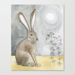 Hare and Cricket Canvas Print