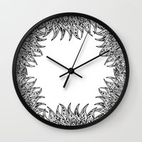 fringe Wall Clocks featuring Pysch Fringe by jordantheplatt