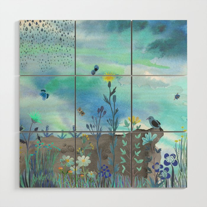 Blue Garden I Wood Wall Art