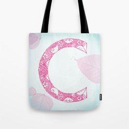 Floral Letter 'C' Tote Bag