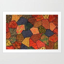 Japanese colorful quilt patchwork Art Print