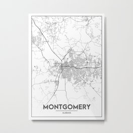 Minimal City Maps - Map Of Montgomery, Alabama, United States Metal Print