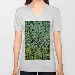 Tangled Tree Branches in Leaf and Lime Green Unisex V-Neck