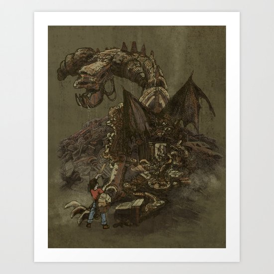 Junkyard Dragon  Art Print