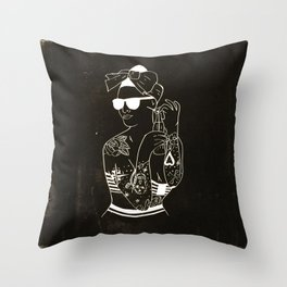 Tattooed pin up girl Throw Pillow