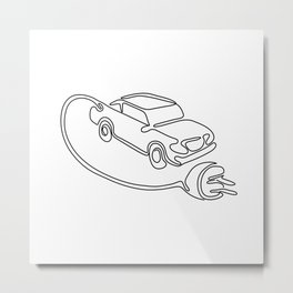 Electric Vehicle Charging Continuous Line Metal Print