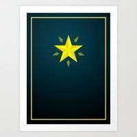 Gold Star/ Blue Art Print