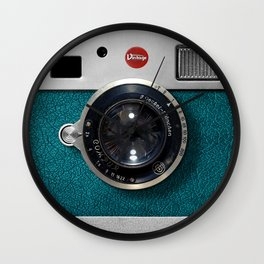 Blue Teal retro vintage camera with germany lens Wall Clock