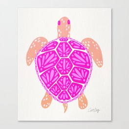 Sea Turtle – Pink Palette Canvas Print