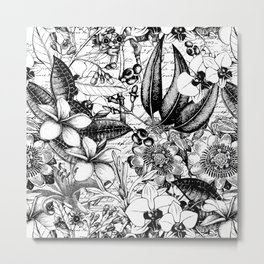 Black And White Tropical Flower Pattern Metal Print