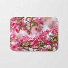 Bright Pink Crabapple Blossoms Bath Mat