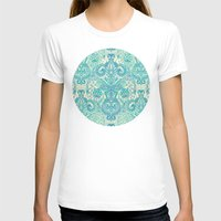 stickers T-shirts featuring Botanical Geometry - nature pattern in blue, mint green & cream by micklyn