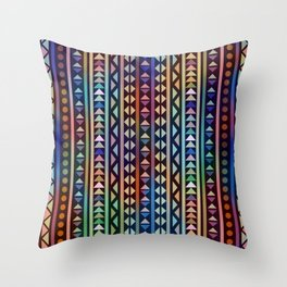 Colorful Tribal Stripes and triangles Pattern Throw Pillow