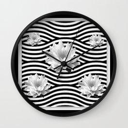 Black & White Water Lilies Water Garden Wall Clock