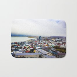 Rainbow Roofs and Buildings of Reykjavik Iceland Bath Mat