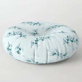 Olive branch pattern in blue Floor Pillow