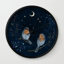 Birds and Berries Wall Clock