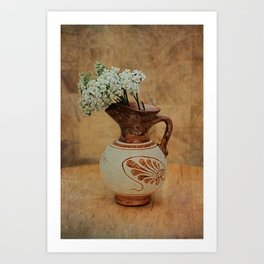Vintage Greek Vase And Yarrow Art Print