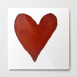 Hand-painted Watercolour red heart Metal Print