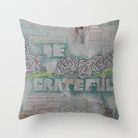 grateful dead Throw Pillows featuring Grateful by TrishRay