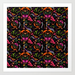 Retro Flower Pattern // Pop-Art Style 70s Collection // Black, Orange, Pink // Groovy Funky Style Art Print