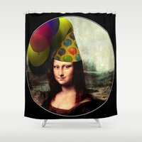 mona lisa Shower Curtains featuring Mona Lisa Birthday Girl by Gravityx9