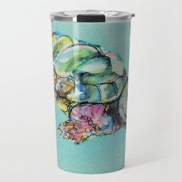 Tortoise on light blue Travel Mug