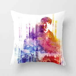 sherlock bbc digital watercolor Throw Pillow