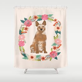 Australian Cattle Dog red heeler floral wreath dog gifts pet portraits Shower Curtain