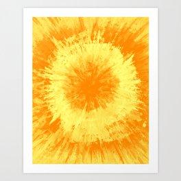 Yellow Tie Dye // Painted Multi Media Textured Acrylic Canvas Painting Art Print