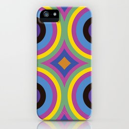 Disco Concentric Circles Neon Rainbow iPhone Case