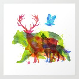 Colorful watercolors wild animals overprint Art Print