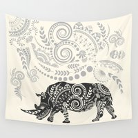rhino Wall Tapestries featuring Rhino by famenxt