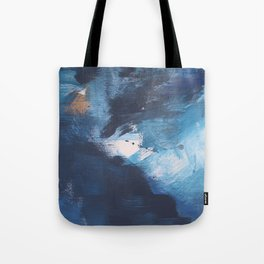 Ships in the Night: a vibrant abstract mixed-media piece in blues and golds by Alyssa Hamilton Art Tote Bag