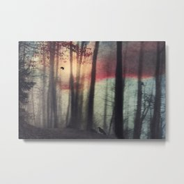 Blurred Vision - Forest and birds at sunrise Metal Print